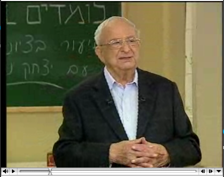 x-President of Israel Itzhak Navon giving a history class.